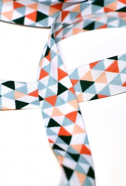 Schrägband, Triangle, aqua-orange